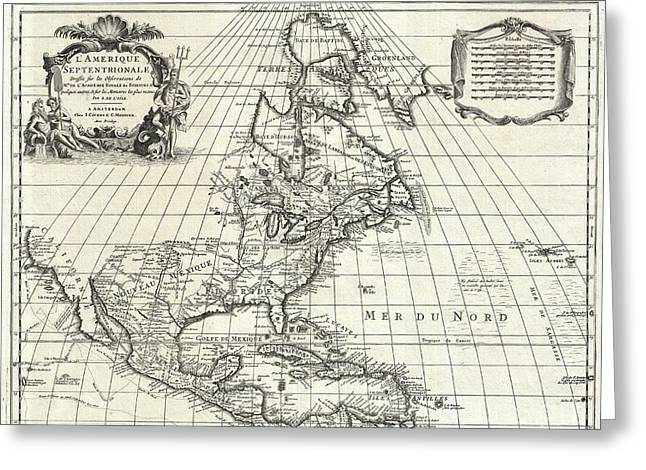 1708 De Lisle Map Of North America Greeting Card by Paul Fearn