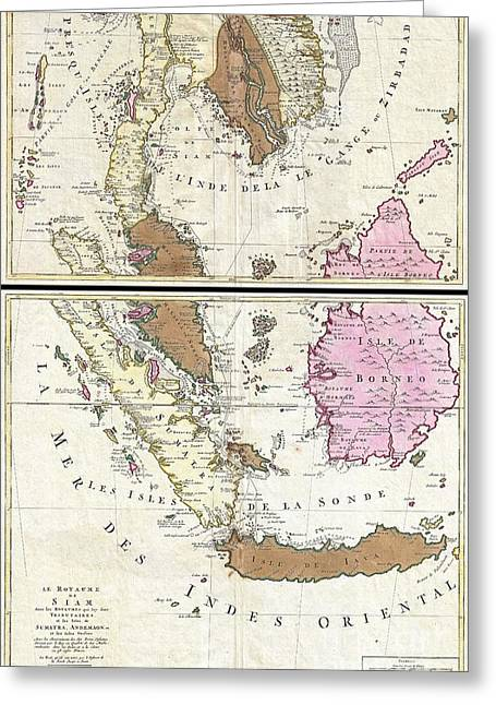 Village By The Sea Greeting Cards - 1710 Ottens Map of Southeast Asia Singapore Thailand Siam Malaysia Sumatra Borneo Greeting Card by Paul Fearn