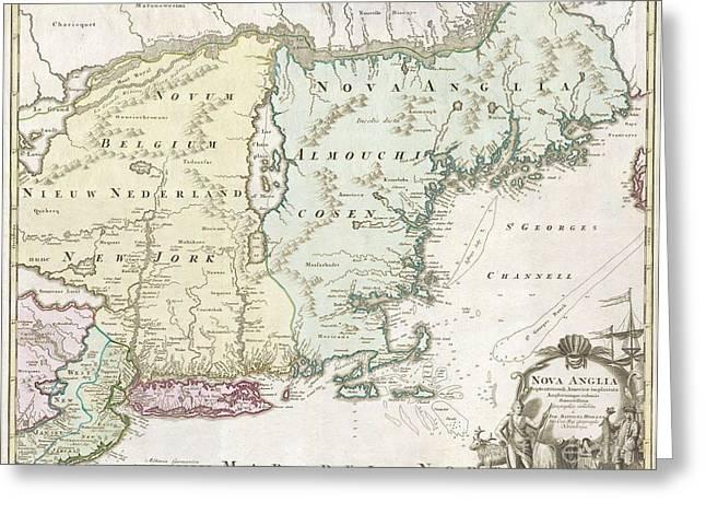New England Village Greeting Cards - 1716 Homann Map of New England Greeting Card by Paul Fearn