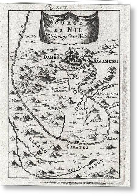 Figure Based Greeting Cards - 1719 Mallet Map of the Source of the Nile Ethiopia Greeting Card by Paul Fearn