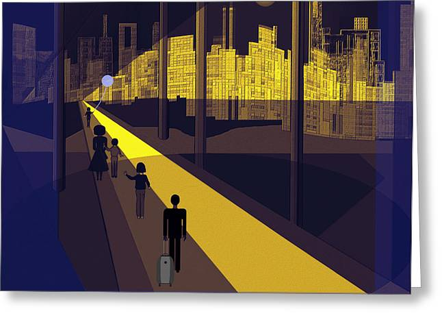 Little Boy Greeting Cards - 172 -  Nightwalking to the golden city  Greeting Card by Irmgard Schoendorf Welch