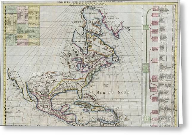1720 Chatelain Map Of North America Greeting Card by Paul Fearn