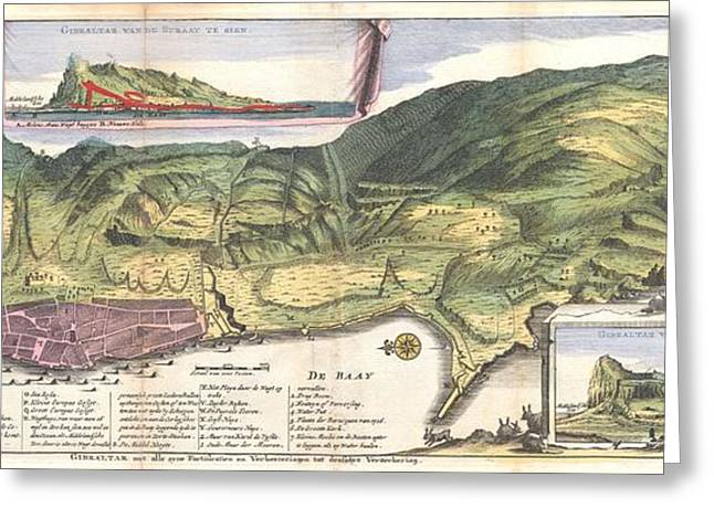 The First Family Photographs Greeting Cards - 1720 De La Feuille Map and View of Gibraltar Greeting Card by Paul Fearn