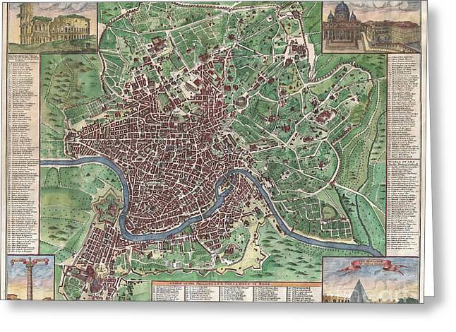 Cestus Greeting Cards - 1721 John Senex Map of Rome Greeting Card by Paul Fearn