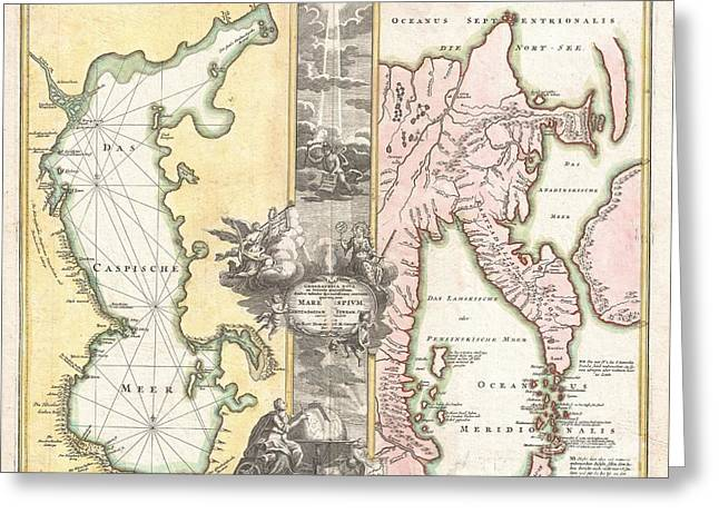 Figure Based Greeting Cards - 1725 Homann Map of the Caspian Sea and Kamchatka Greeting Card by Paul Fearn