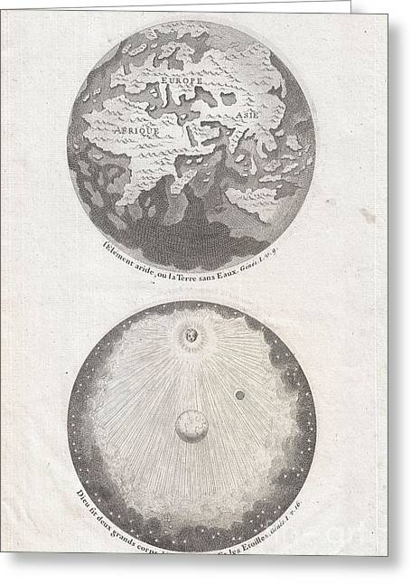 Not In Use Greeting Cards - 1728 Calmet Map of the Ancient World Showing the Creation of the Universe  Greeting Card by Paul Fearn