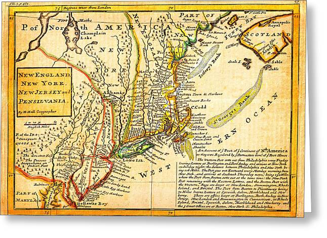 Vector Image Paintings Greeting Cards - 1729 Moll Map of New York New England and Pennsylvania First Postal Map of New England Geographicus  Greeting Card by MotionAge Designs