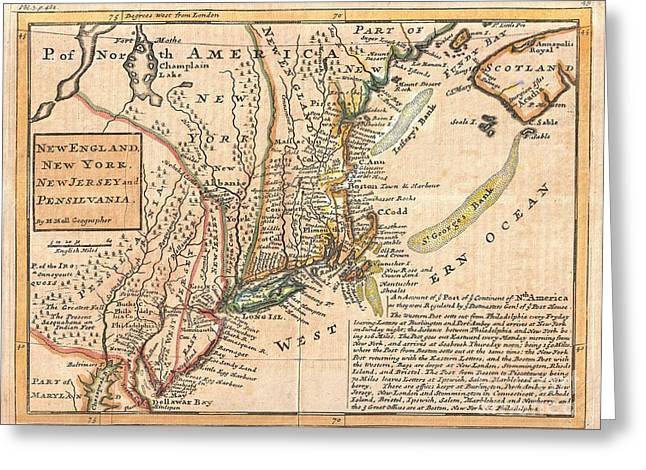 Not In Service Greeting Cards - 1729 Moll Map of New York New England and Pennsylvania  Greeting Card by Paul Fearn