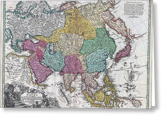 Further Traces Greeting Cards - 1730 C Homann Map of Asia  Greeting Card by Paul Fearn