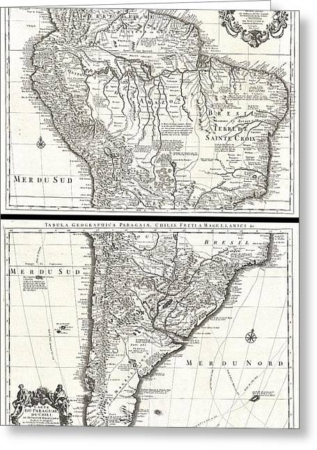 Apart From Others Greeting Cards - 1730 Covens and Mortier Map of South America Greeting Card by Paul Fearn