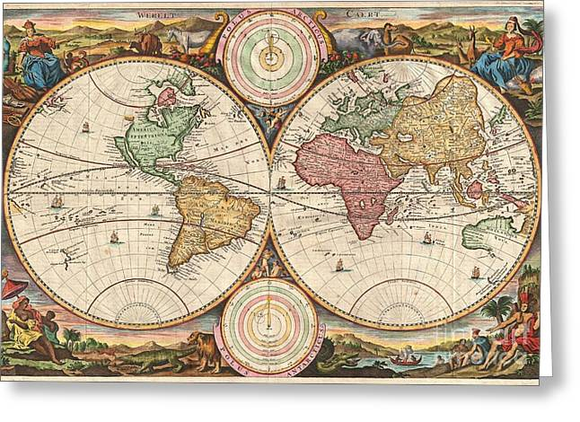 Amass Greeting Cards - 1730 Stoopendaal Map of the World in two Hemispheres  Greeting Card by Paul Fearn