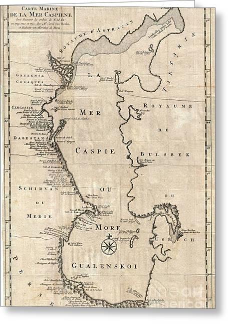 1730 Van Verden Map Of The Caspian Sea Greeting Card by Paul Fearn