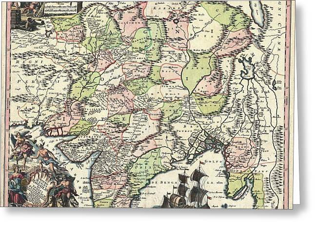 Mid-century Look Greeting Cards - 1740 Seutter Map of India Pakistan Tibet and Afghanistan Greeting Card by Paul Fearn