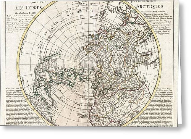 Slightly To The North Greeting Cards - 1741 Covens and Mortier Map of the Northern Hemisphere  North Pole Arctic Greeting Card by Paul Fearn