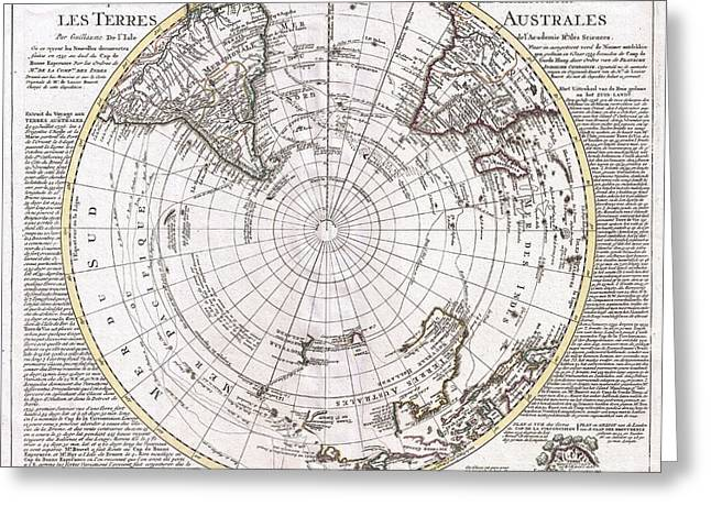 Captains Quarters Greeting Cards - 1741 Covens and Mortier Map of the Southern Hemisphere South Pole Antarctic Greeting Card by Paul Fearn