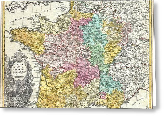 L.a. Woman Greeting Cards - 1741 Homann Heirs Map of France Greeting Card by Paul Fearn