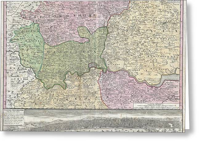 Covered Barge Greeting Cards - 1741 Homann View and Map of London Greeting Card by Paul Fearn