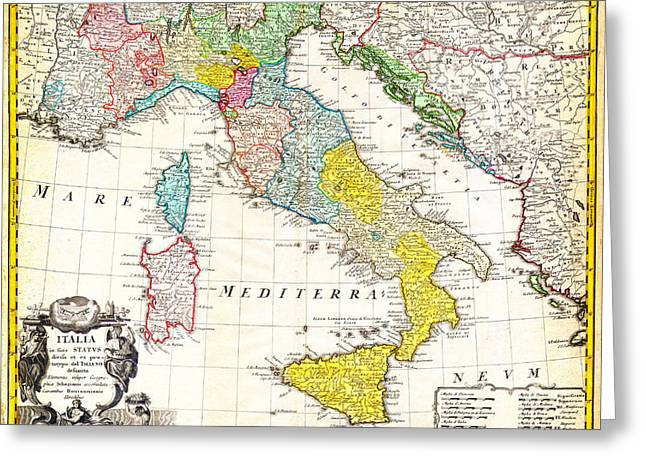 1742 Homann Heirs Map Of Italy Geographicus Italia Homannheirs 1742 Greeting Card by MotionAge Designs