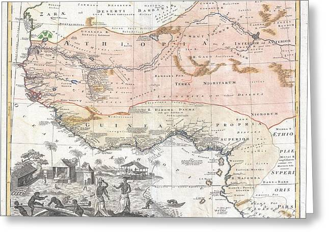Not In Use Greeting Cards - 1743 Homann Heirs Map of West Africa or Guinea Greeting Card by Paul Fearn