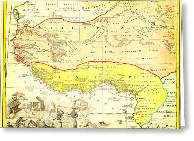 1743 Homann Heirs Map Of West Africa Slave Trade References Guinea Geographicus Aethiopia Hmhr 1743 Greeting Card by MotionAge Designs
