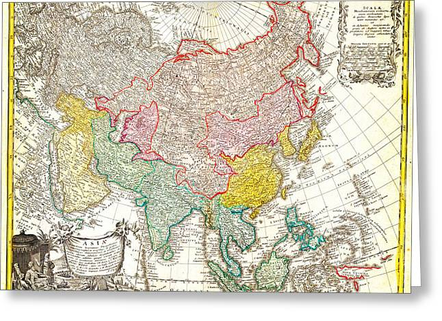1744 Homann Heirs Map Of Asia Geographicus Asia Homannheirs 1744 Greeting Card by MotionAge Designs