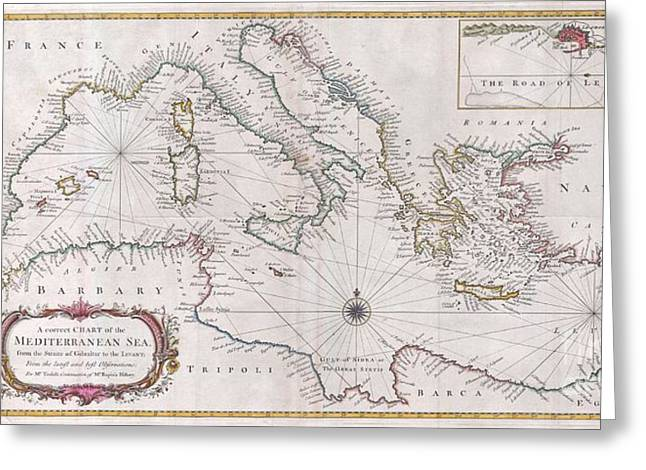 Lines Of The Hands Greeting Cards - 1745 Seale Map or Chart of the Mediterranean Sea Greeting Card by Paul Fearn