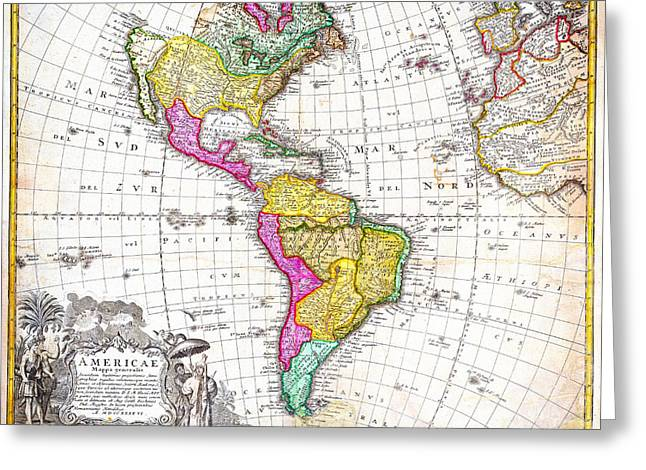 1746 Homann Heirs Map Of South North America Geographicus Americae Hmhr 1746 Greeting Card by MotionAge Designs