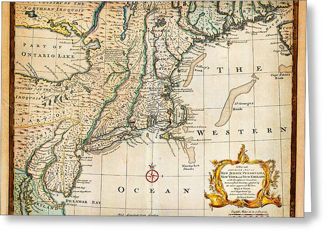 Planet Map Paintings Greeting Cards - 1747 Bowen Map of New Jersey Pennsylvania New York and New England Geographicus NewYorkNewEngland bo Greeting Card by MotionAge Designs