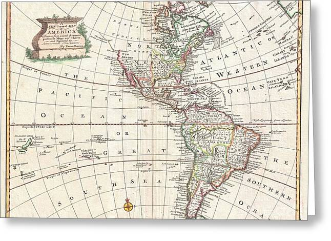 1747 Bowen Map Of North America And South America Greeting Card by Paul Fearn