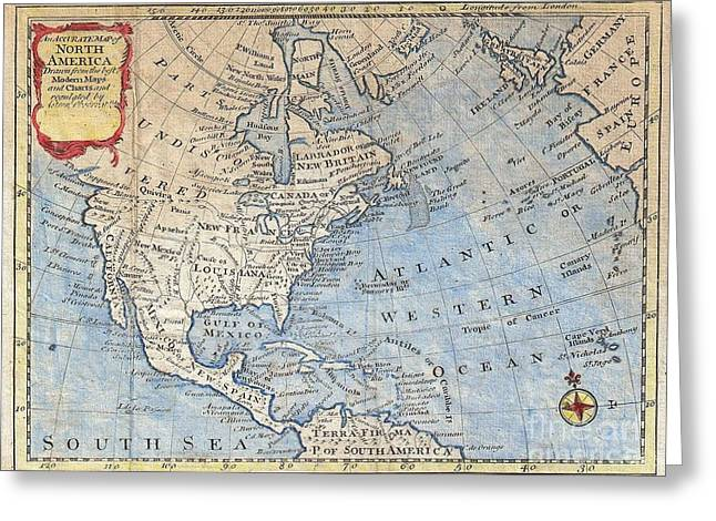 1747 Bowen Map Of North America Greeting Card by Paul Fearn