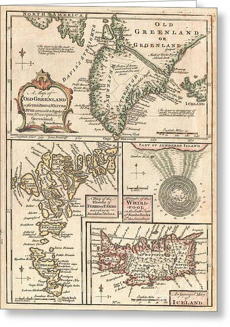 Hands On A Book Greeting Cards - 1747 Bowen Map of the North Atlantic Islands Greenland Iceland Faroe Islands Greeting Card by Paul Fearn