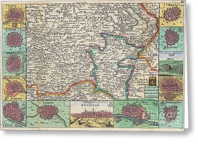 Limburg Greeting Cards - 1747 La Feuille Map of Brabant  Greeting Card by Paul Fearn