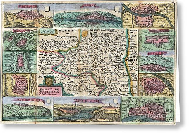 Dr. J Photographs Greeting Cards - 1747 La Feuille Map of Dauphine  Greeting Card by Paul Fearn