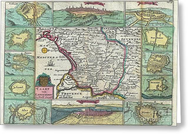Correspond With Greeting Cards - 1747 La Feuille Map of Languedoc France Greeting Card by Paul Fearn