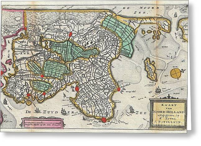 Ply Greeting Cards - 1747 La Feuille Map of Northern Holland Greeting Card by Paul Fearn