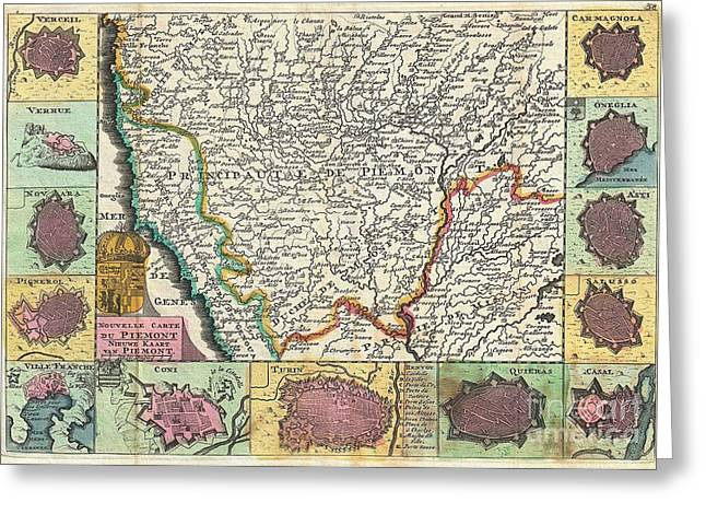 Asti Greeting Cards - 1747 La Feuille Map of Piedmont Italy Greeting Card by Paul Fearn