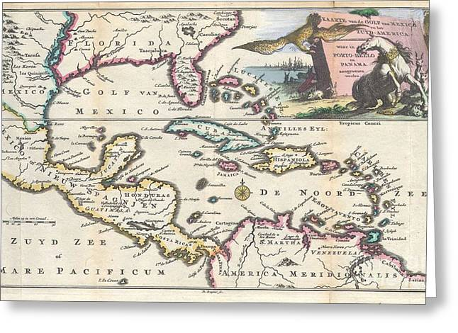1747 Ruyter Map Of Florida Mexico And The West Indies Greeting Card by Paul Fearn