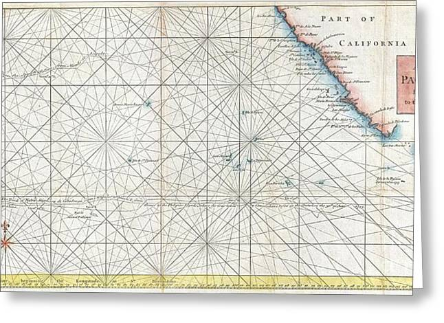 World In Between Greeting Cards - 1748 Anson Map of Baja California and the Pacific  Trade Routes from Acapulco to Manila Greeting Card by Paul Fearn