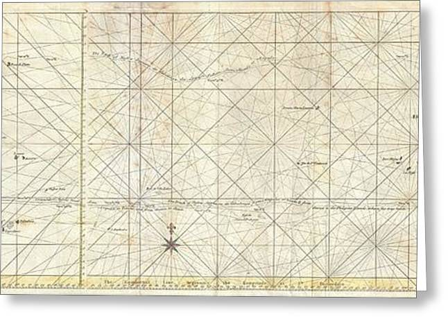 World In Between Greeting Cards - 1748 Seale Map of the Pacific Ocean  Trade Routes from Acapulco to Manila Greeting Card by Paul Fearn