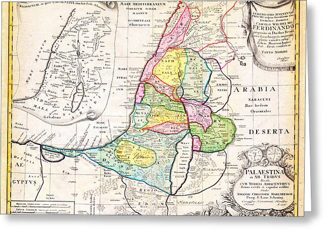 1750 Homann Heirs Map Of Israel Palestine Holy Land 12 Tribes Geographicus Palestina Homannheirs 175 Greeting Card by MotionAge Designs