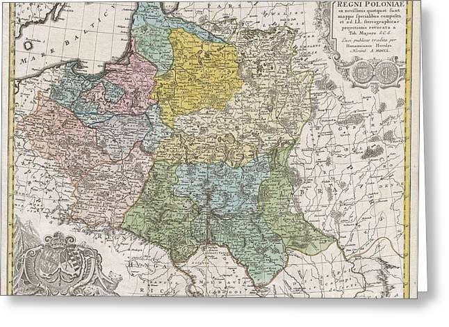 Couronne Greeting Cards - 1750 Homann Heirs Map of Poland  Greeting Card by Paul Fearn