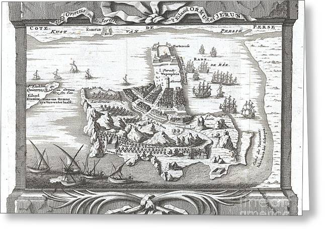 Ply Greeting Cards - 1750 Schley Map of Ormus Persian Gulf Greeting Card by Paul Fearn