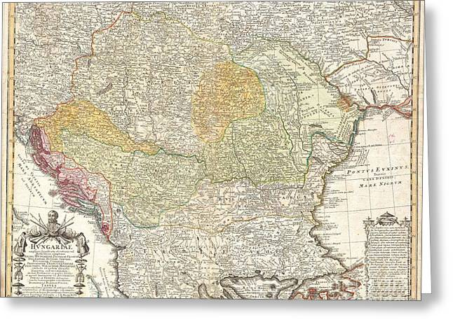 Slav Greeting Cards - 1752 Homann Heirs Map of Hungary the Balkans and Northern Greece Greeting Card by Paul Fearn