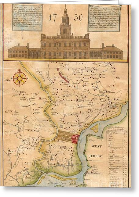 Reprint Greeting Cards - 1752  Scull  Heap Map of Philadelphia and Environs Greeting Card by Paul Fearn