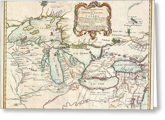 First Introduction Greeting Cards - 1755 Bellin Map of the Great Lakes Greeting Card by Paul Fearn