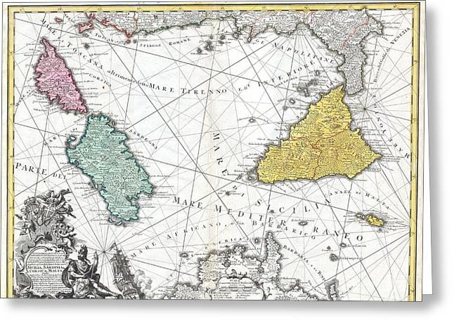 Lengthy Greeting Cards - 1762 Homann Heirs Map of Sicily Sardenia Corsica and Malta Greeting Card by Paul Fearn
