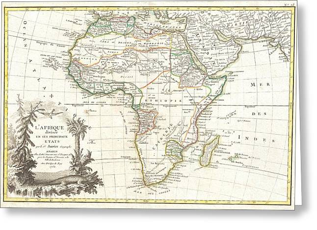 Though Blank Greeting Cards - 1762 Janvier Map of Africa Greeting Card by Paul Fearn