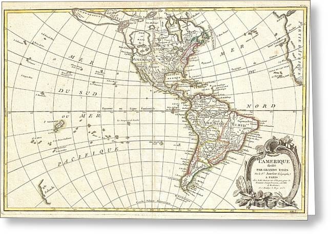 Inland Bodies Of Water Greeting Cards - 1762 Janvier Map of North America and South America  Greeting Card by Paul Fearn
