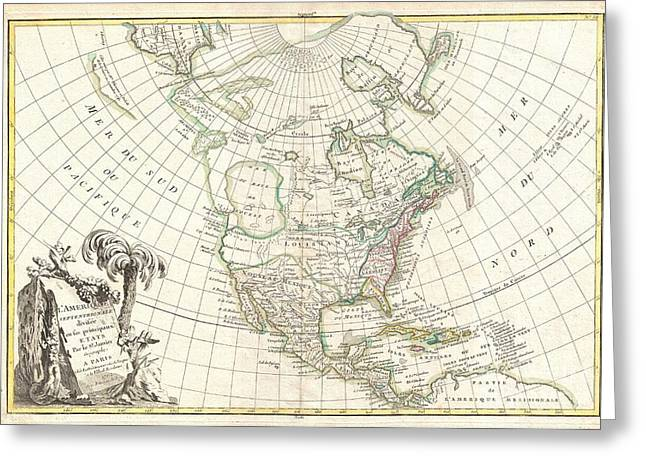 Inland Bodies Of Water Greeting Cards - 1762 Janvier Map of North America  Greeting Card by Paul Fearn