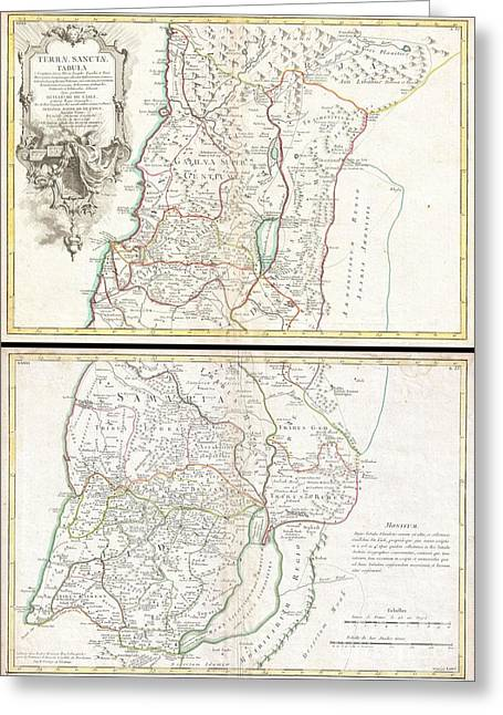 1763 De Lisle Map Of The Holy Land Greeting Card by Paul Fearn
